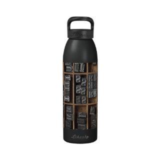 letterpress lead type in a case water bottle
