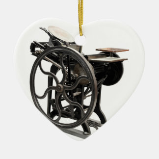 letterpress machine heart ornament