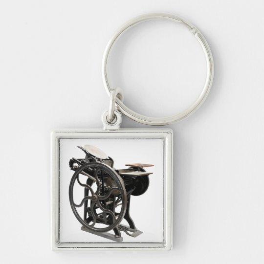 letterpress machine square premium keychain
