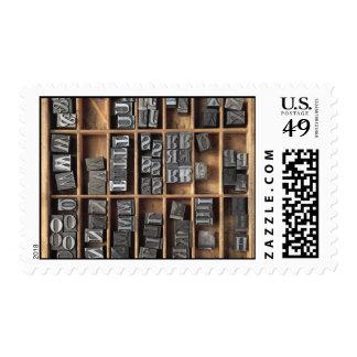 letterpress metal type postage stamp