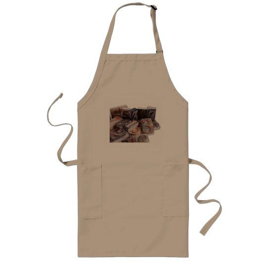 letterpress numbers in wood long khaki apron