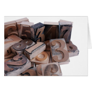 letterpress numbers in wood note card