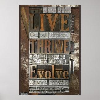 Letterpress poster: Live, Thrive, Evolve Poster