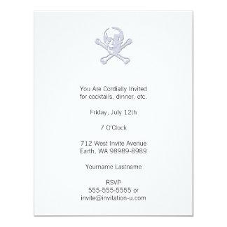 Letterpress Style Jolly Roger 4.25x5.5 Paper Invitation Card