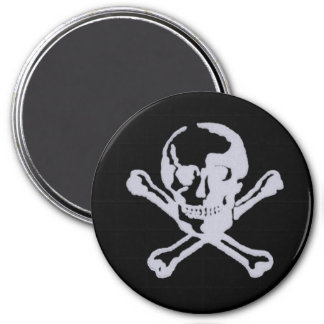 Letterpress Style Jolly Roger 3 Inch Round Magnet