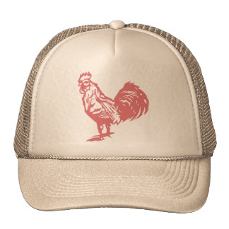 Letterpress Style Red Rooster Trucker Hat