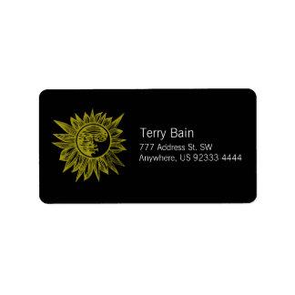 Letterpress Style Sun Personalized Address Labels