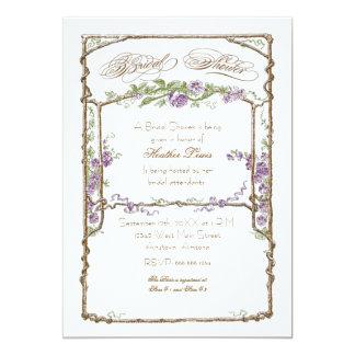 Letterpress Style Vintage Faux Bois Trellis Coral Invitation