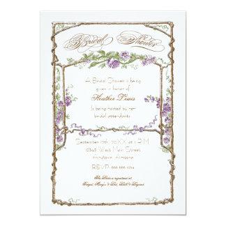 Letterpress Style Vintage Faux Bois Trellis Coral Invitations