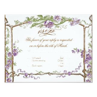 Letterpress Style Vintage Faux Bois Trellis Purple 4.25x5.5 Paper Invitation Card