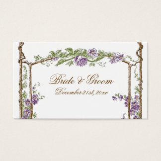 Letterpress Style Vintage Faux Bois Trellis Purple Business Card