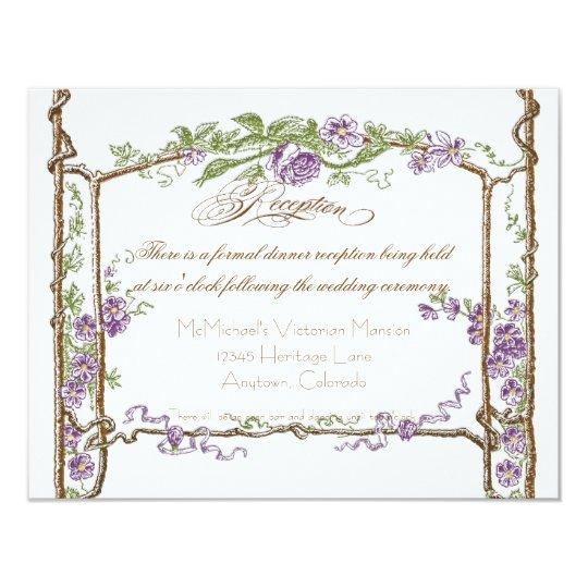 Letterpress Style Vintage Faux Bois Trellis Purple Card
