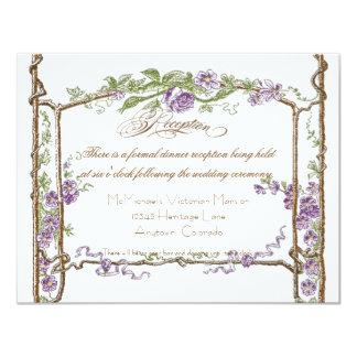 Letterpress Style Vintage Faux Bois Trellis Purple Invitations