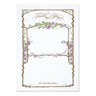 Letterpress Style Vintage Faux Bois Trellis Purple Personalized Invites