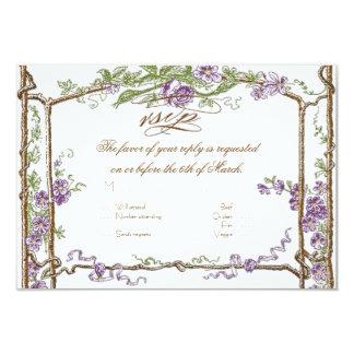 Letterpress Style Vintage Faux Bois Trellis Purple Personalized Announcement