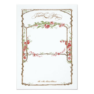 Letterpress Style Vintage Faux Bois Trellis - Red Card