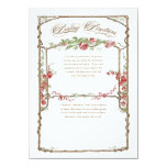 Letterpress Style Vintage Faux Bois Trellis - Red 4.5x6.25 Paper Invitation Card