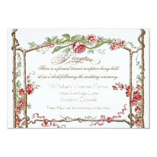 Letterpress Style Vintage Faux Bois Trellis - Red Personalized Invitations