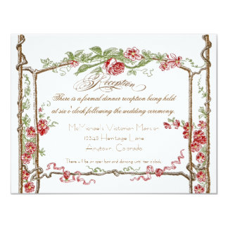 Letterpress Style Vintage Faux Bois Trellis - Red Custom Invites
