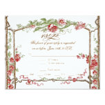 Letterpress Style Vintage Faux Bois Trellis - Red 4.25x5.5 Paper Invitation Card