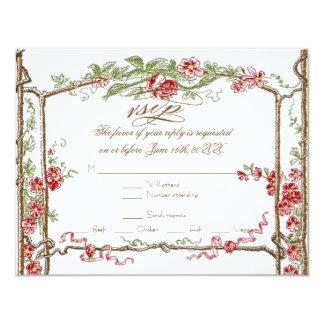 Letterpress Style Vintage Faux Bois Trellis - Red Personalized Invitation