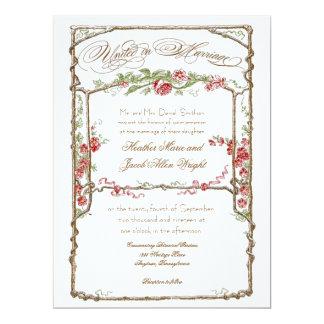 Letterpress Style Vintage Faux Bois Trellis - Red Invites