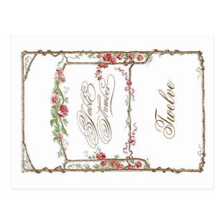 Letterpress Style Vintage Faux Bois Trellis - Red Postcard