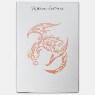 Letterpress Tribal Style Dragon Post-it® Notes