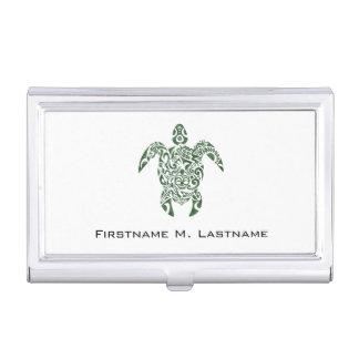 Letterpress Tribal Style Turtle Business Card Holder