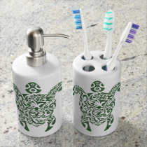 Letterpress Tribal Style Turtle Soap Dispenser And Toothbrush Holder