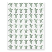 Letterpress Tribal Style Turtle Temporary Tattoos