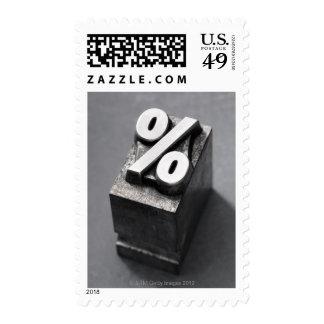 % Letterpress type Postage Stamp