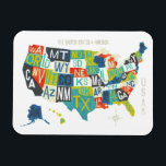 """Letterpress USA Map Magnet<br><div class=""""desc"""">&#169; Michael Mullan / Wild Apple. Colorful map of the United States</div>"""