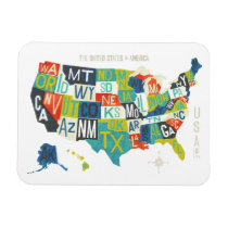 Letterpress USA Map Magnet