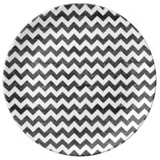 Letterpress Wood Grain Chevron Pattern Porcelain Plates