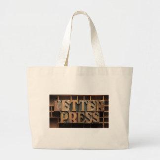 letterpress word black jumbo shopping bag