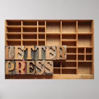 letterpress word on type case poster