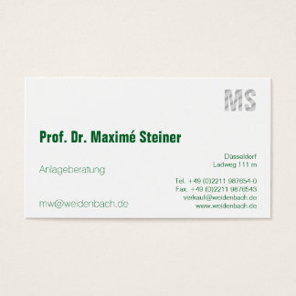Letters and green business card