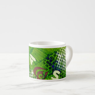Letters and Hearts Abstract Art 6 Oz Ceramic Espresso Cup