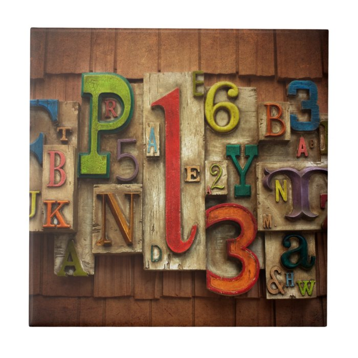 Letters and numbers ceramic tile zazzle for Ceramic tile numbers and letters