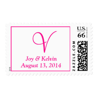 Letters Big Weddings Fluorescent Pink Postage Stamps