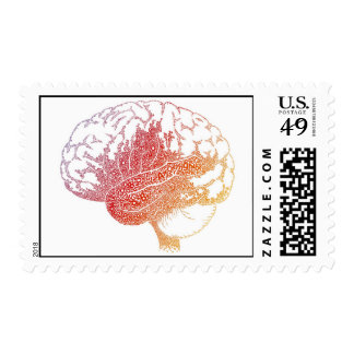Letters brain postage stamp