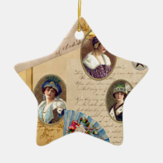 Letters Fans and Women Ceramic Ornament