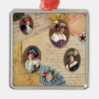 Letters Fans and Women Metal Ornament