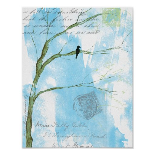 Letters From Home Bird In Tree Poster Print