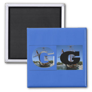 Letters - G - Galleon Refrigerator Magnet