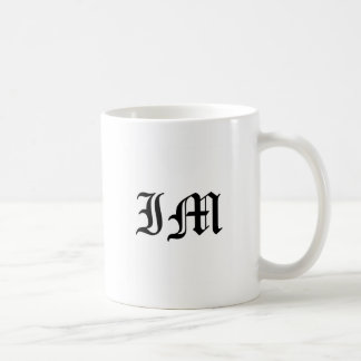 Letters IM Old English Text on White Background Coffee Mug