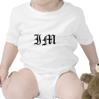 Letters IM Old English Text on White Background Baby Bodysuit