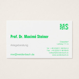 Letters in fresh green business card