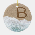LETTERS IN THE SAND B Double-Sided CERAMIC ROUND CHRISTMAS ORNAMENT
